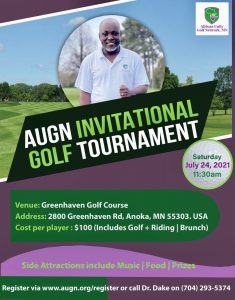 AUGN Invitational Golf Tournament. Date Saturday July 24, 2021 at GreenHaven Golf Course
